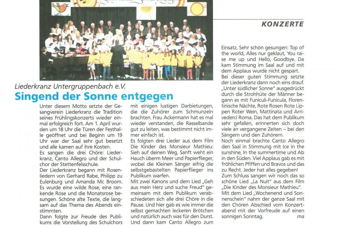 """Artikel von Marga Aust in der Sängerzeitschrift """"inTakt."""""""